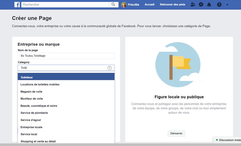 Nom de page Facebook