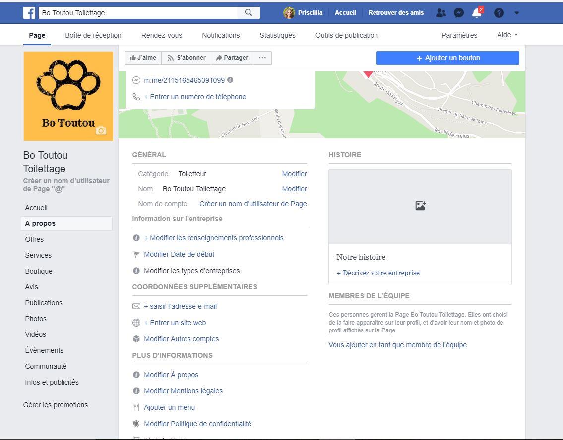 Onglet A propos Facebook