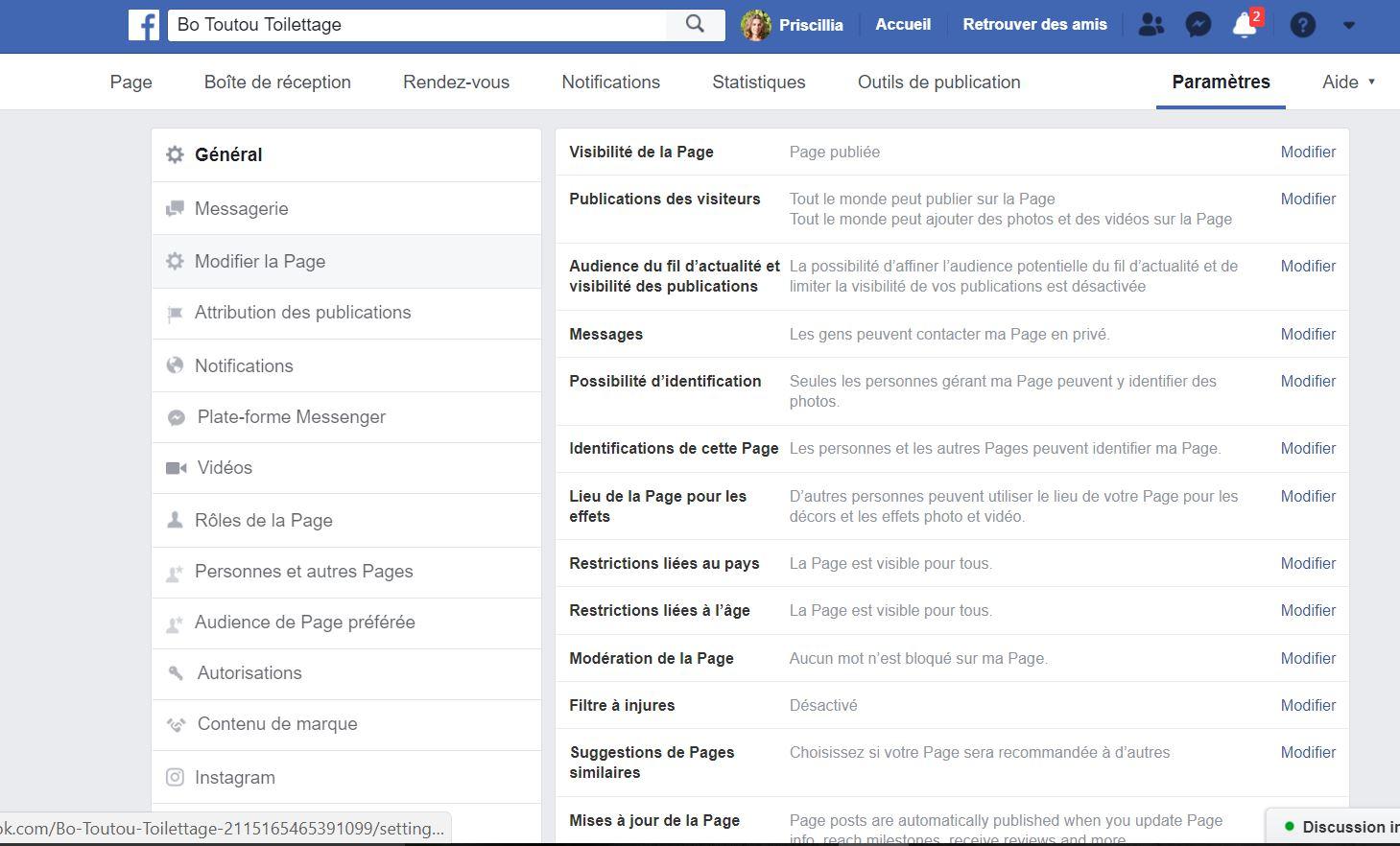 Paramètres de page Facebook
