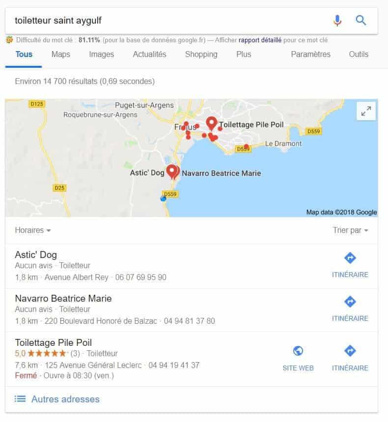 recherches locales sur google